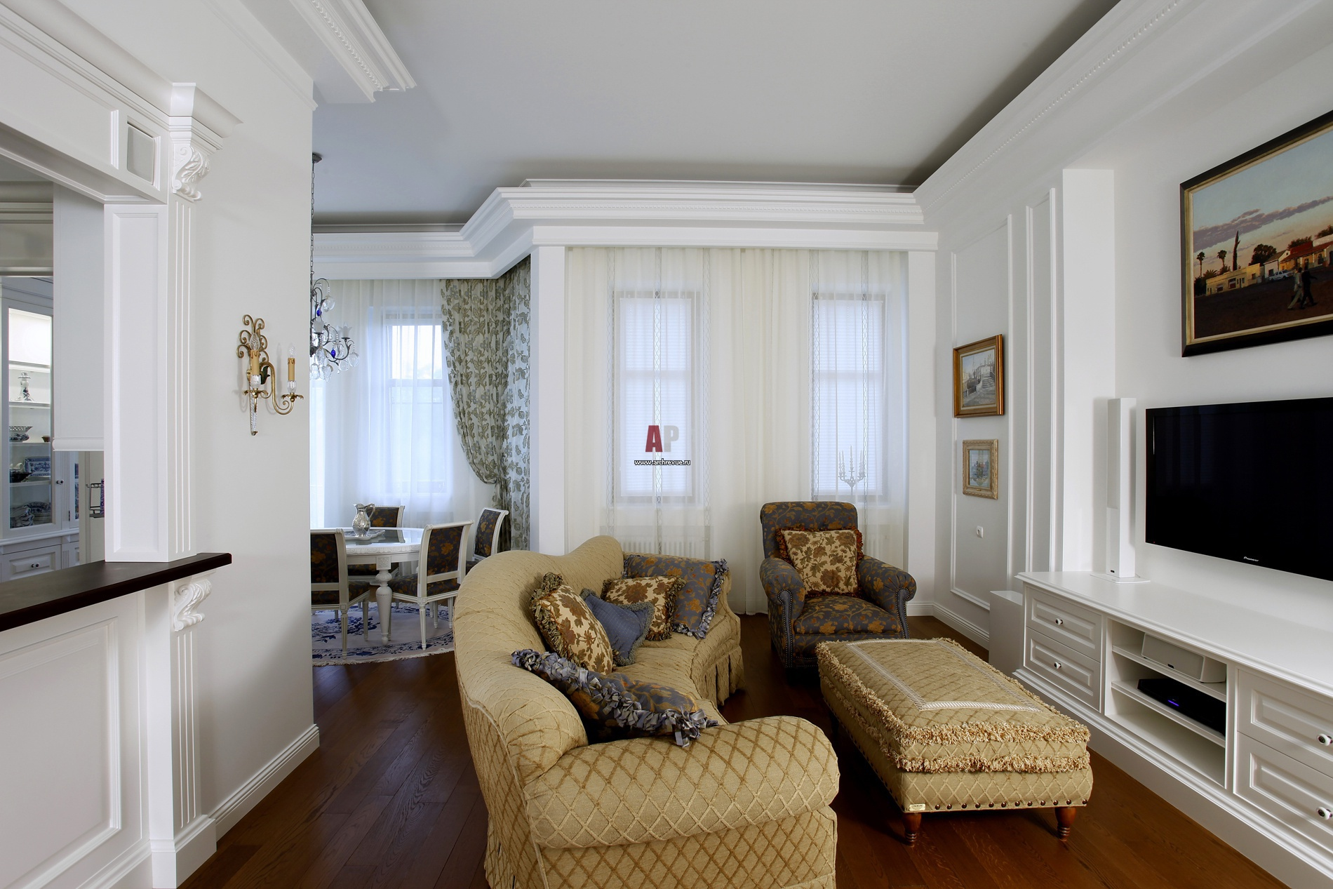 интерьер гостиной в стиле неоклассика фото