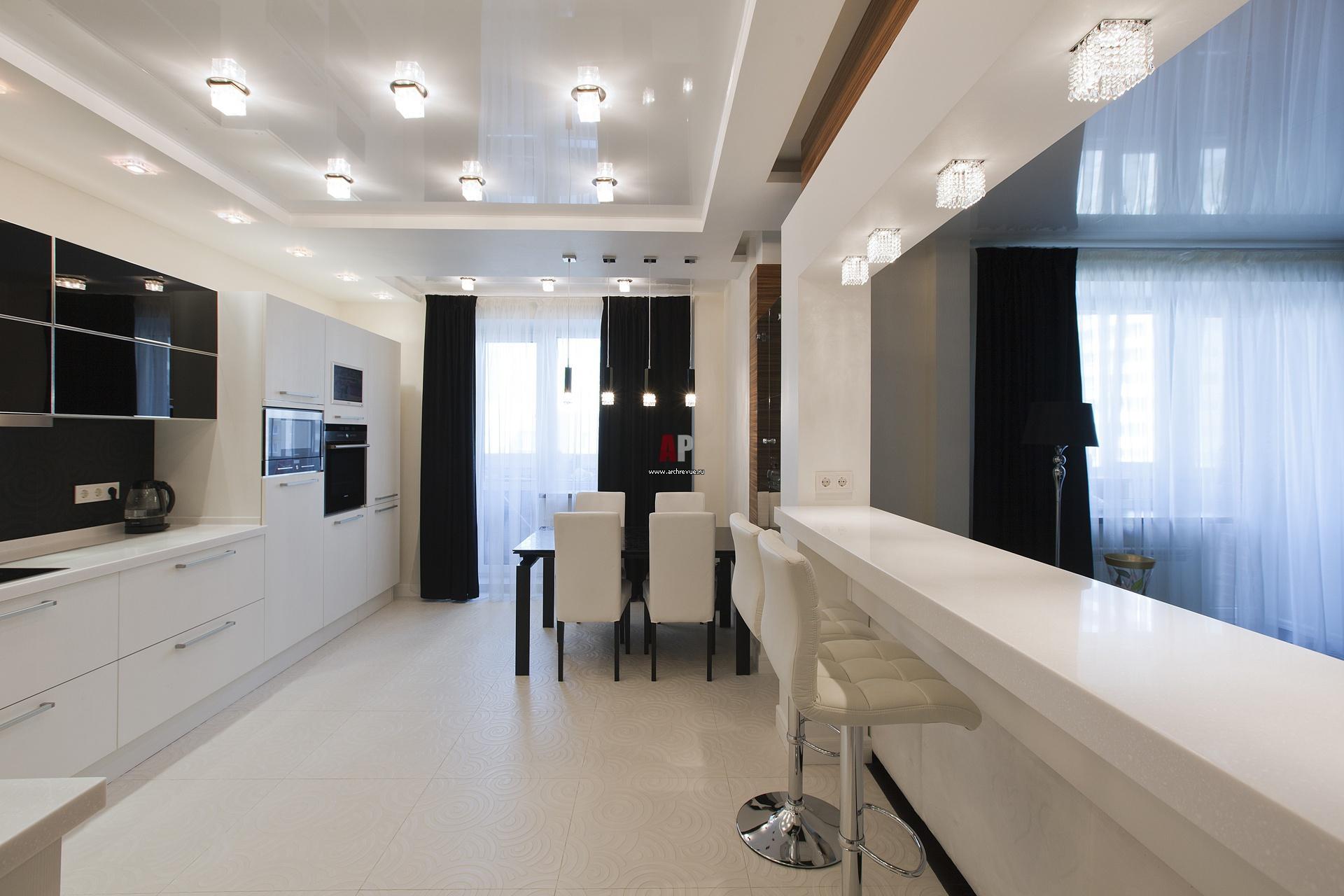 Современная кухня в черно белом цвете