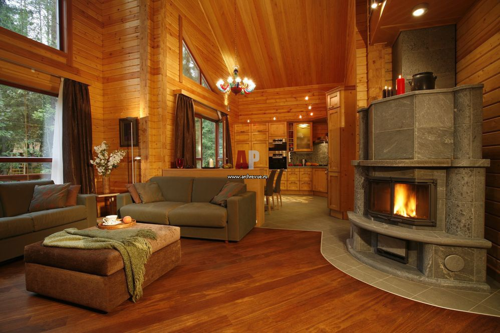 Интерьер дома из дерева фото