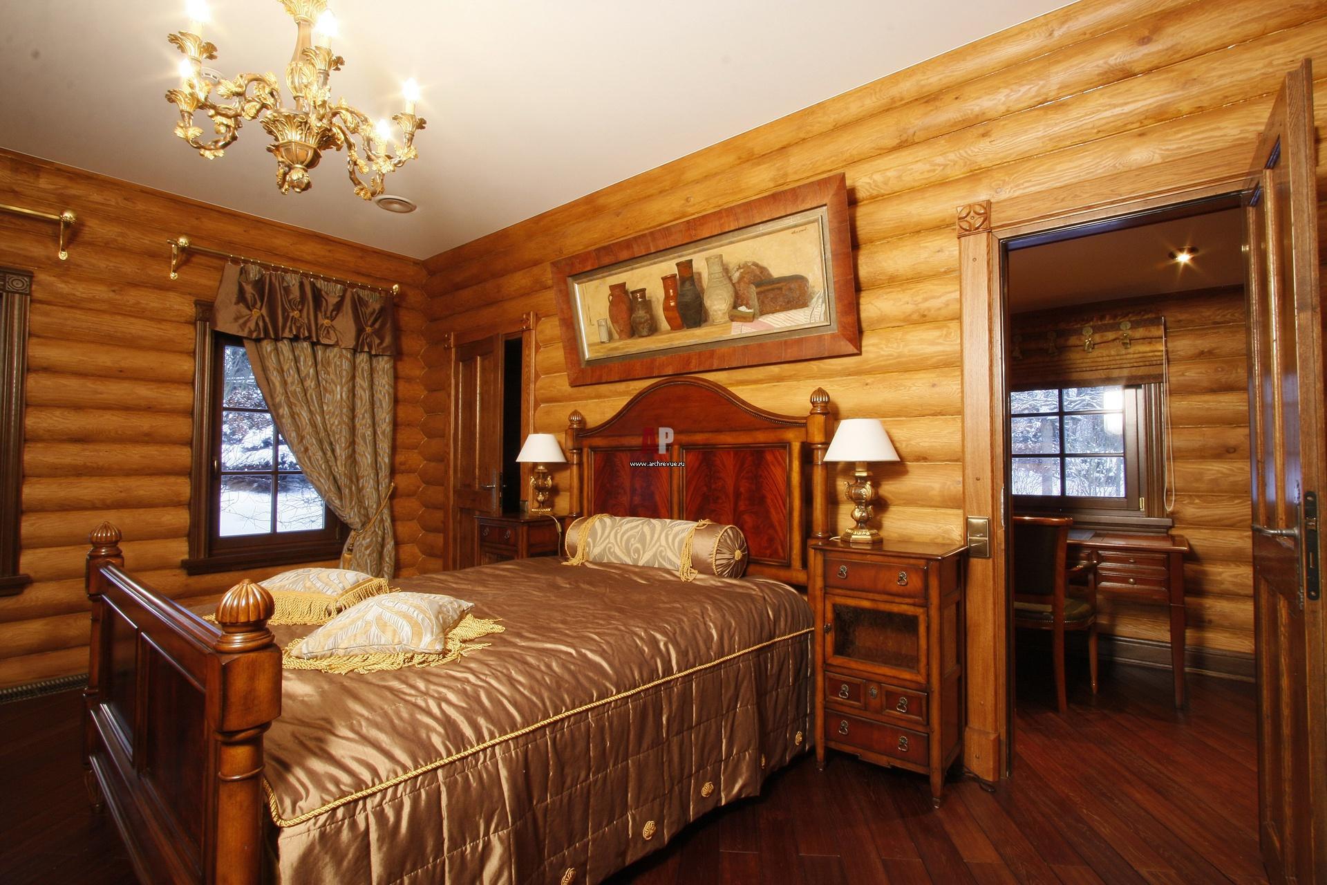 Спальня в деревянном доме дизайн