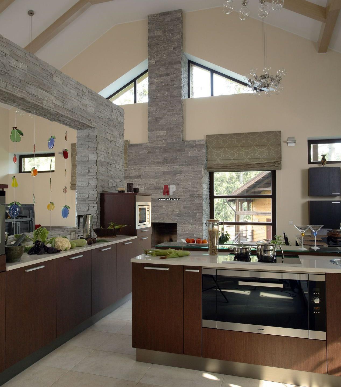 кухни-столовые дизайн для загородного дома фото #6