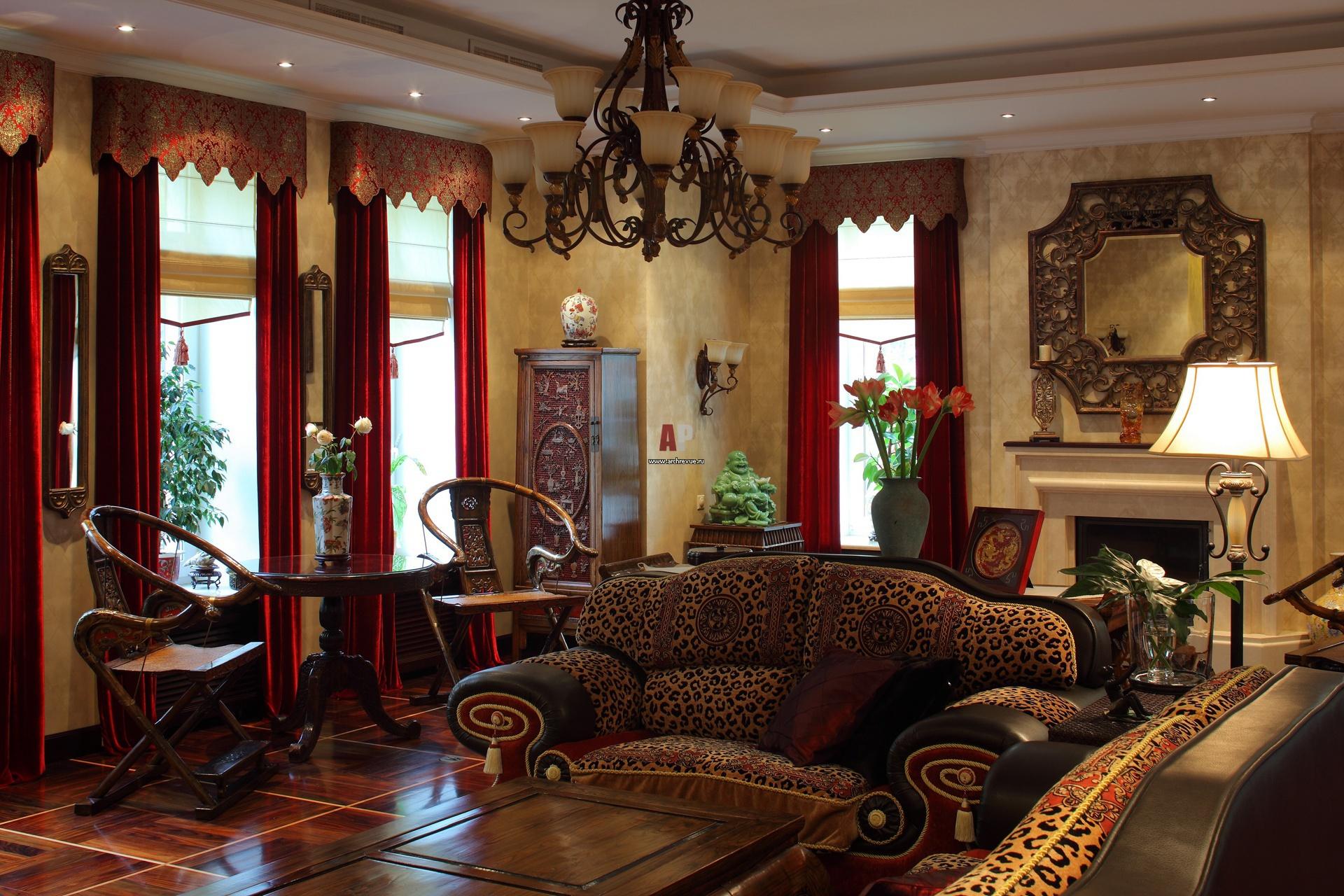 Фото интерьера гостиной дома в восточном стиле