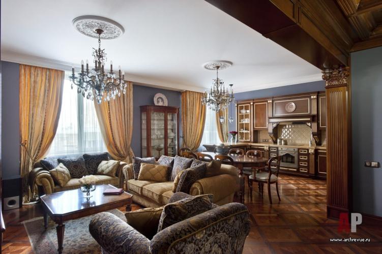 Фото интерьера гостиной квартиры в