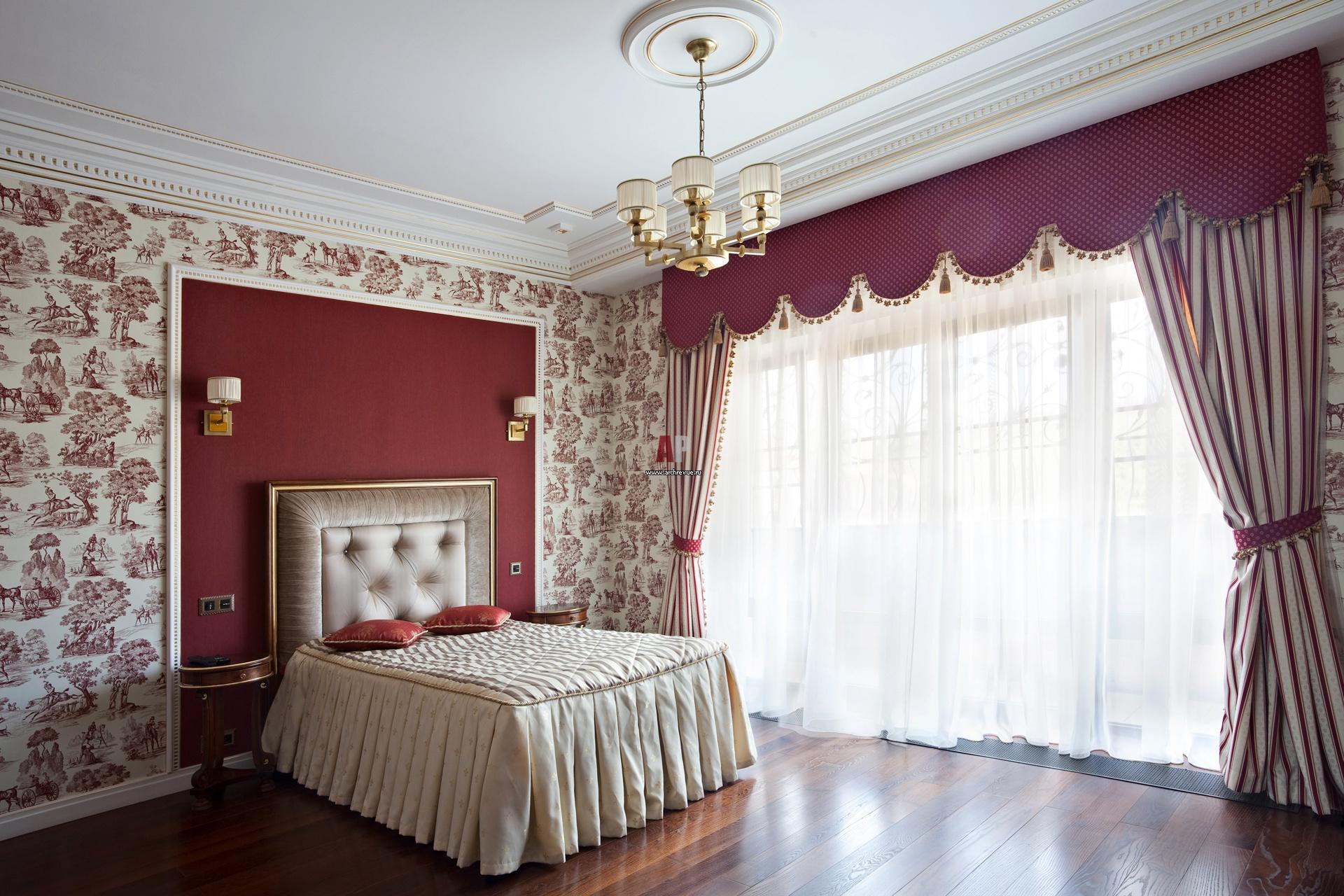 спальня с шоколадными обоями фото