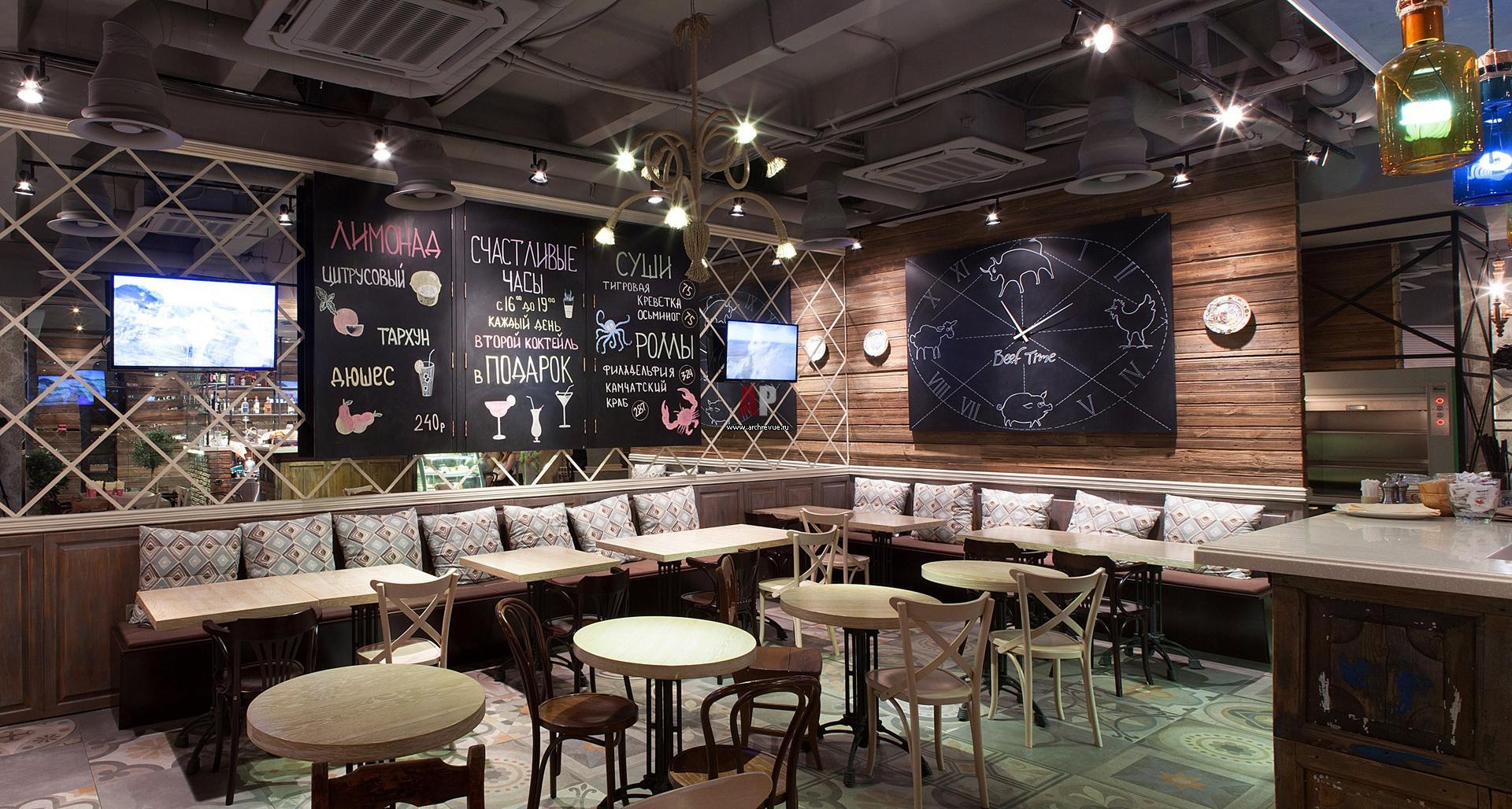 Кафе интерьер в стиле лофт