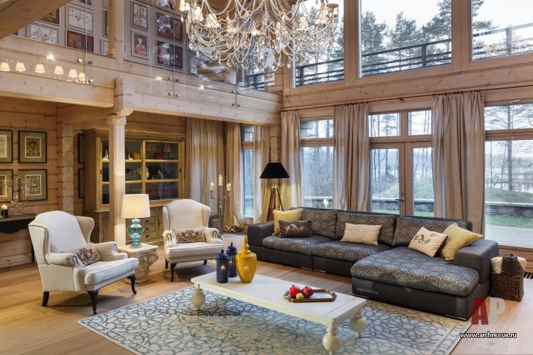 Дизайн интерьера в доме из бруса