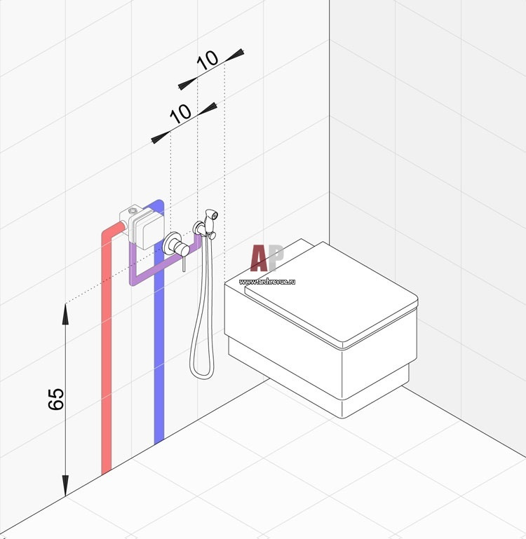 как установить гигиенический душ скрытый