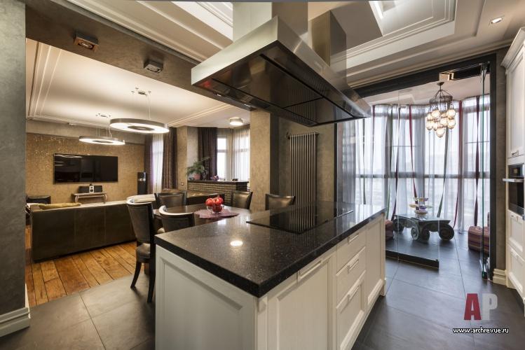 проект интерьера квартиры с гостиной студией в стиле американский лофт