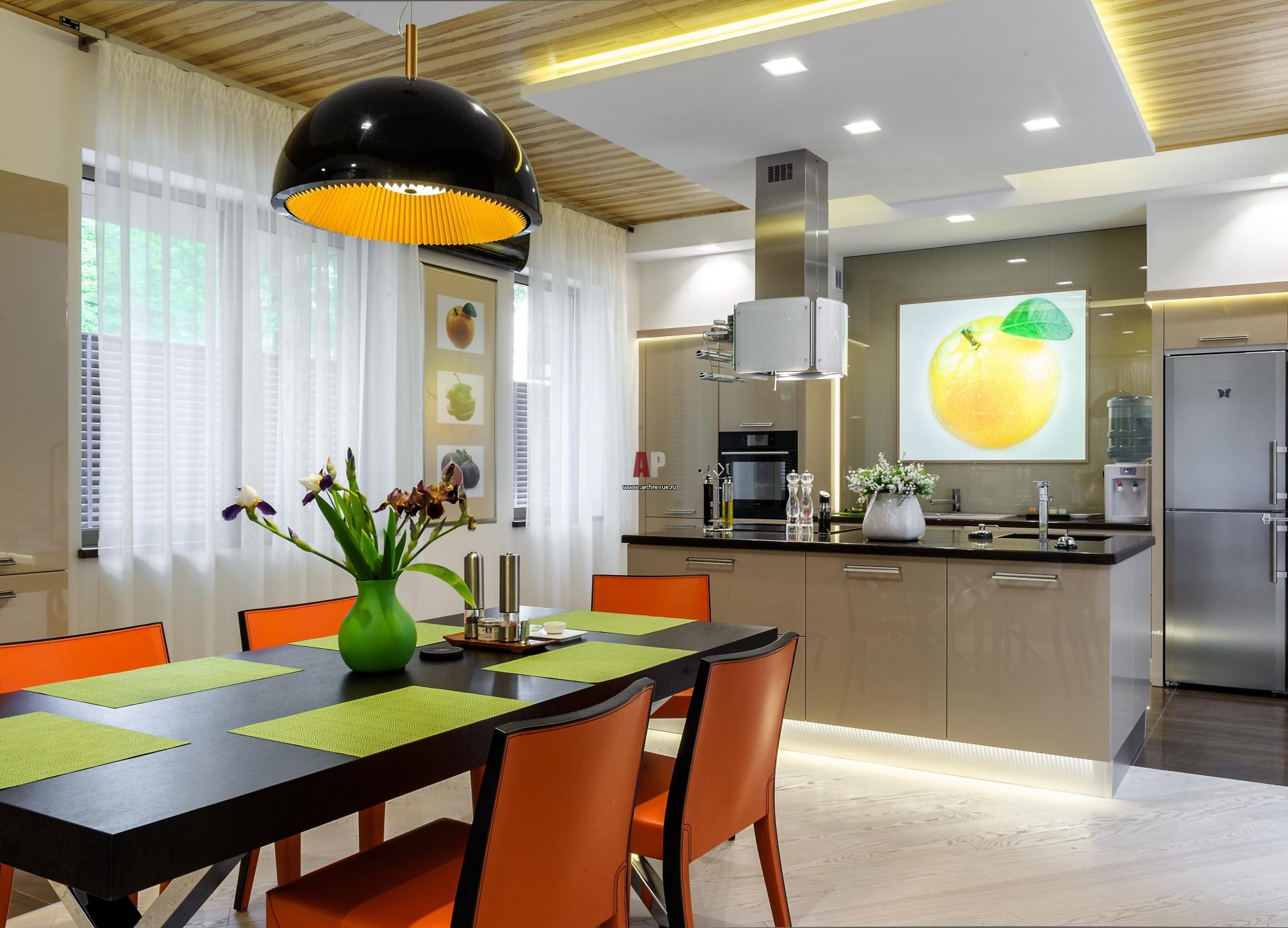 сильный современный дизайн кухни столовой фото территорию