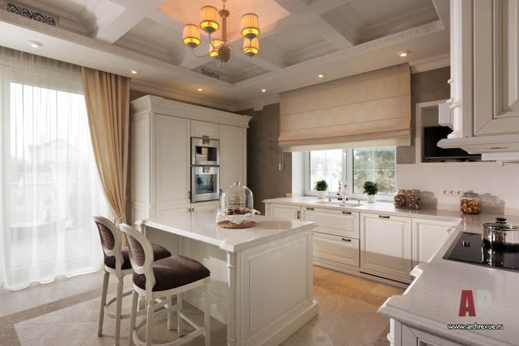 Кухня гостиная студия неоклассика белая мебель