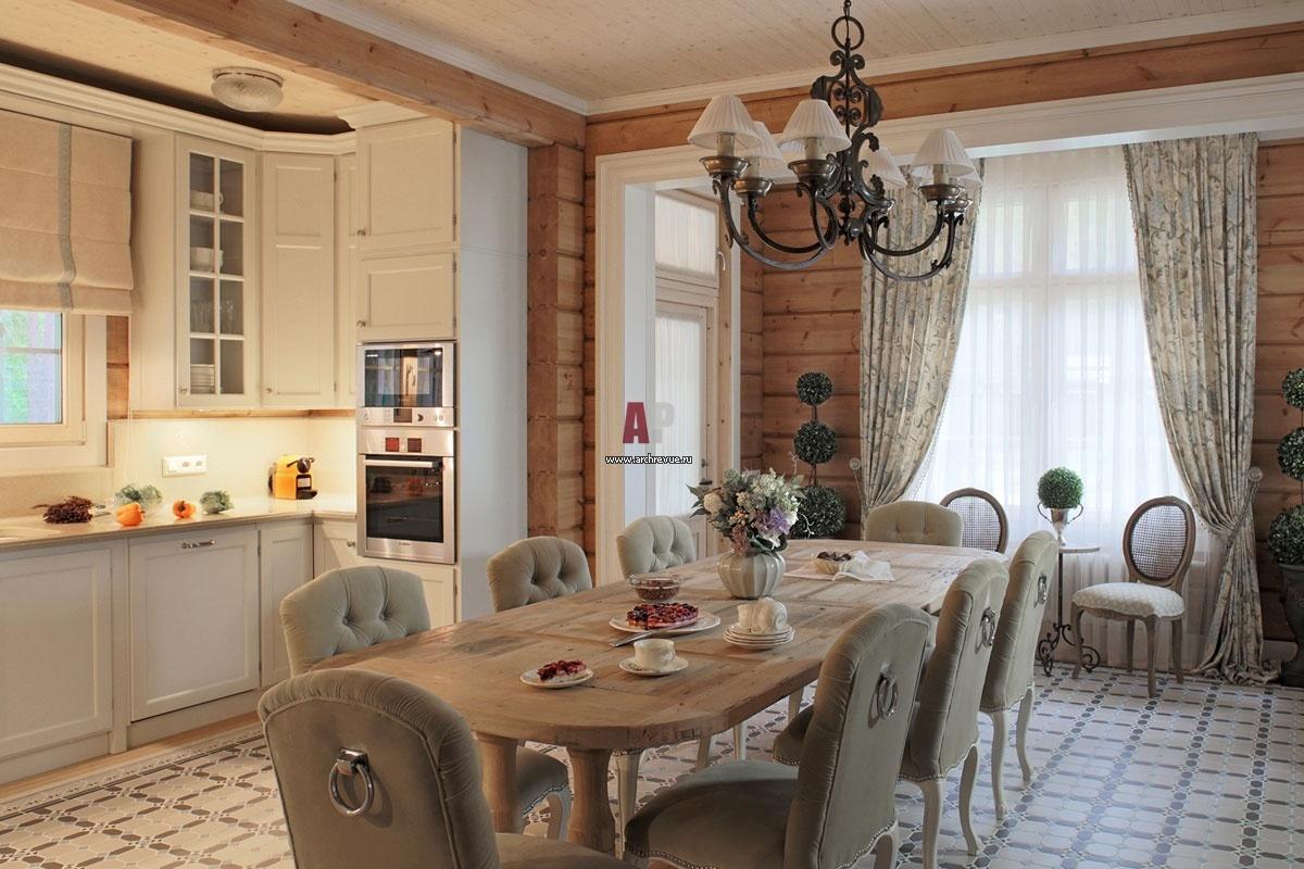 Фото дизайна кухни в дом из бруса