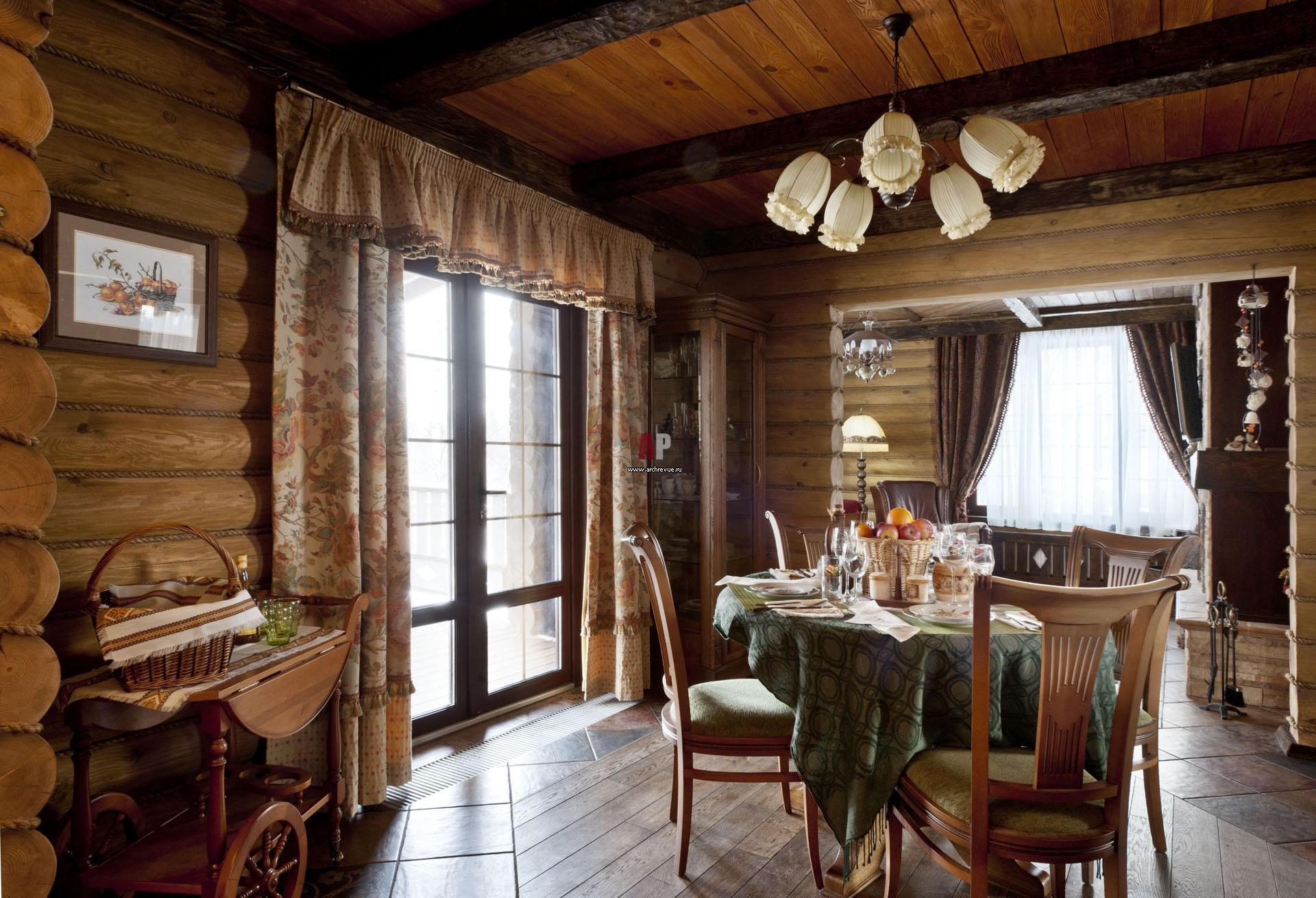 Фото интерьера деревянного дома из оцилиндрованного бревна 92