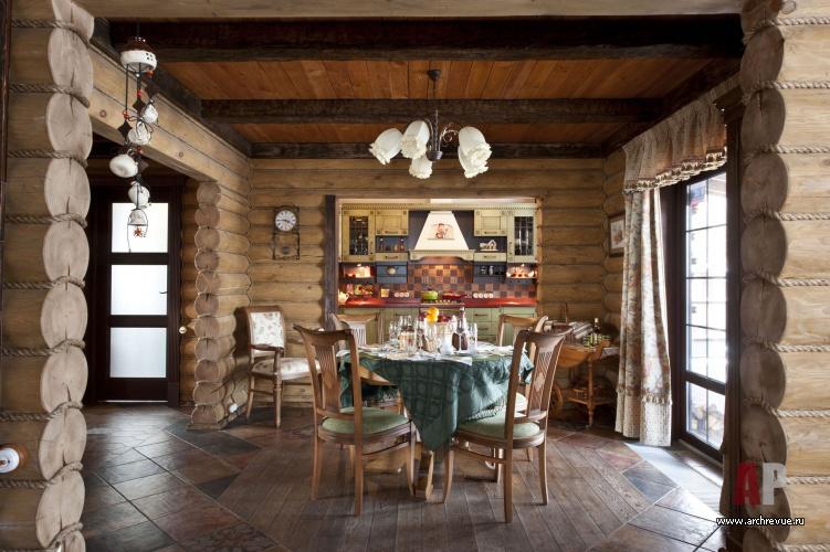 Фото кухни для дома из бревна