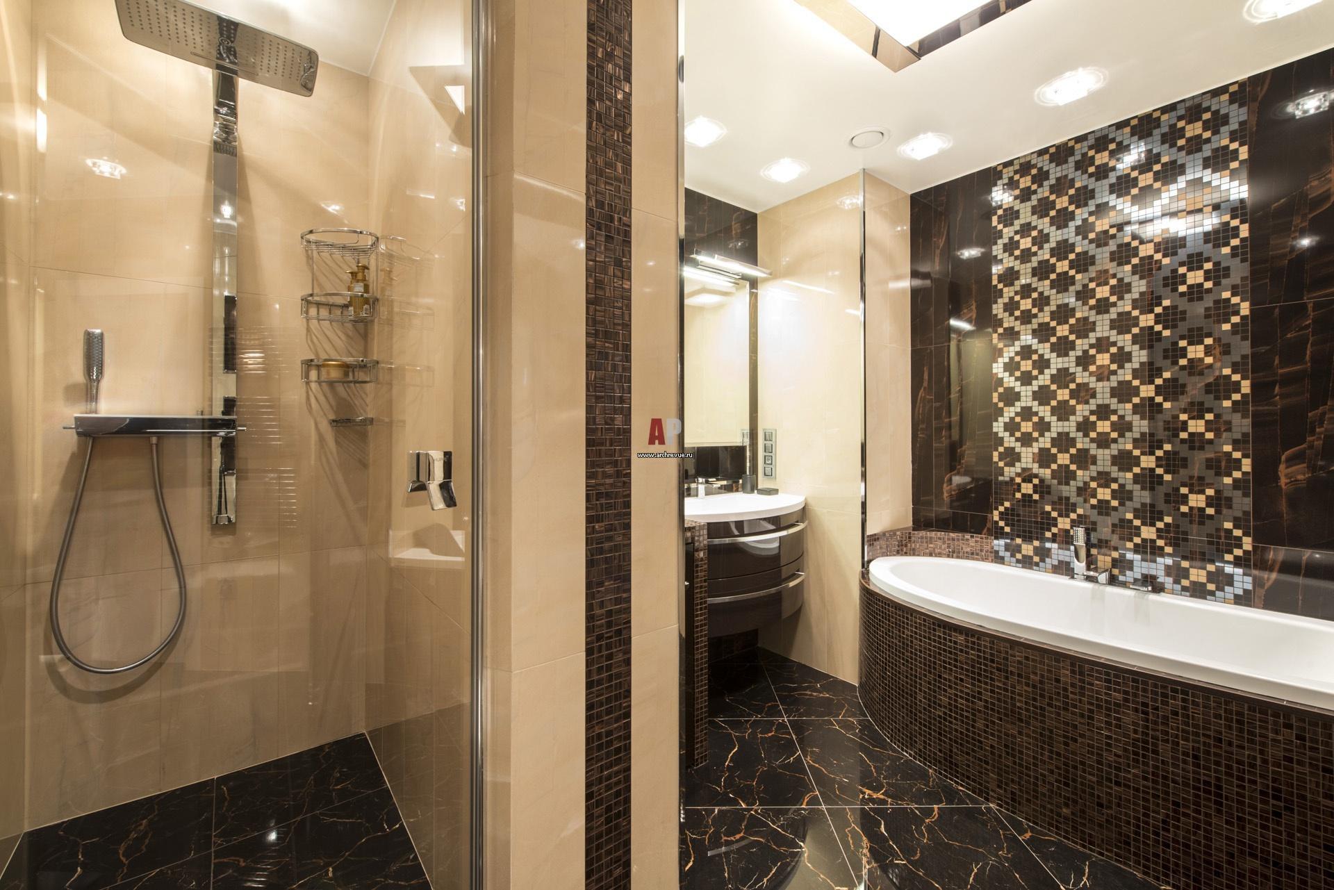 Дизайн интерьера ванной с мозаикой