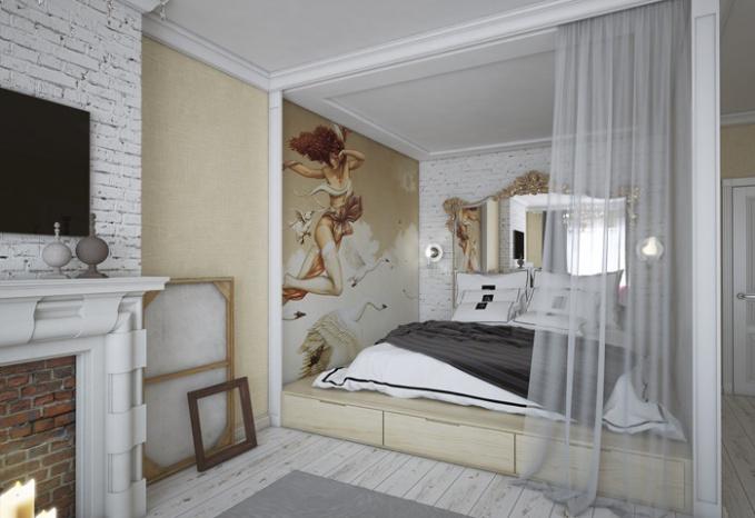 Дизайна спальни с нишей