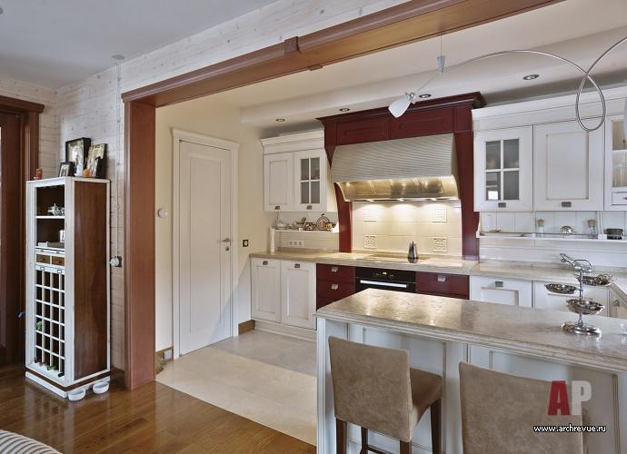 Фото интерьера кухни деревянного дома