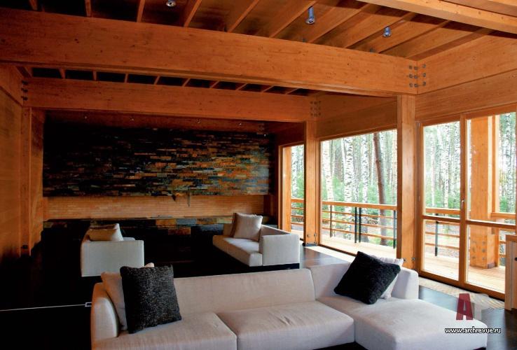 Фото интерьера гостиной двухэтажного