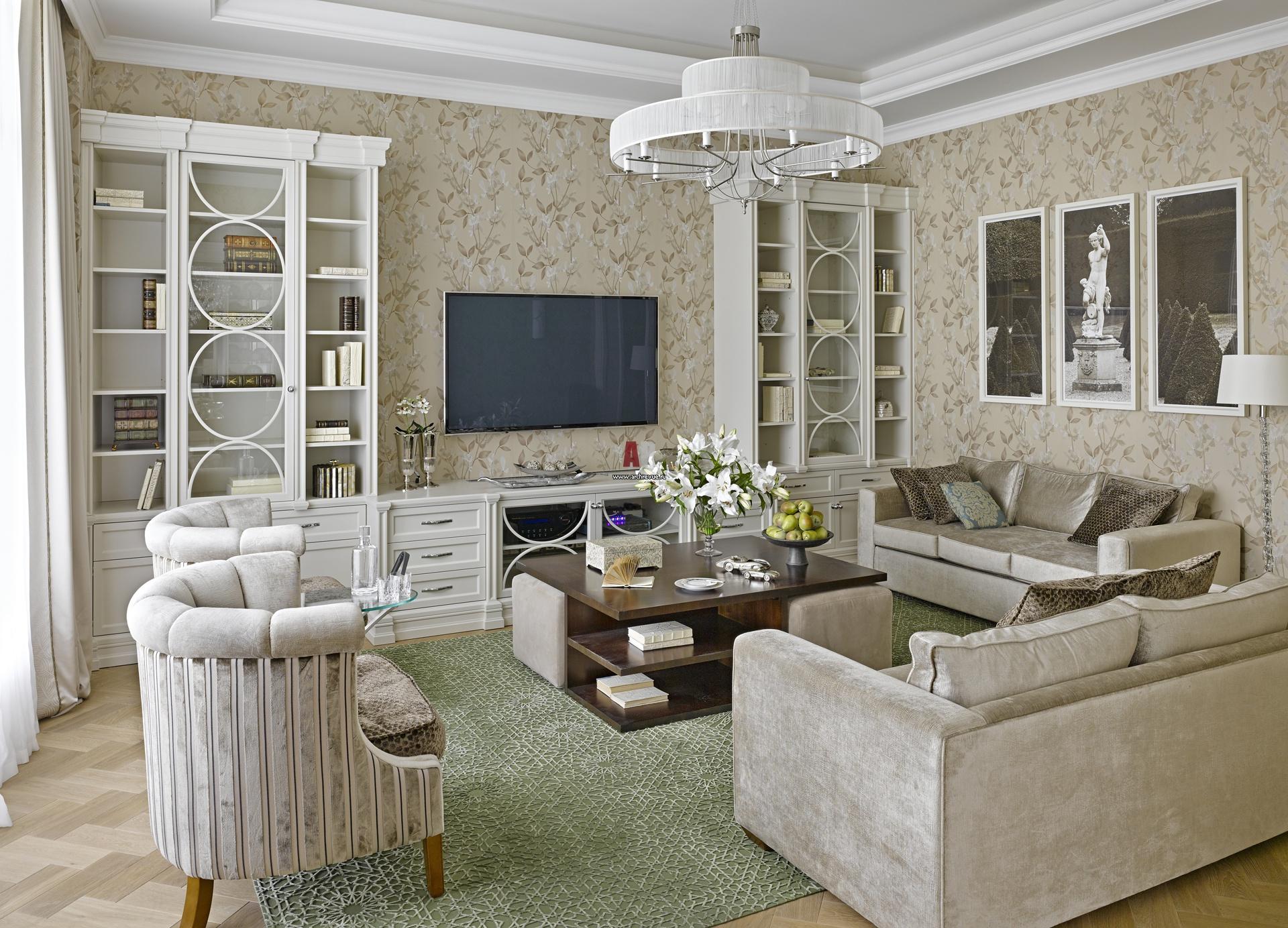 Дизайн интерьера гостиной в стиле современная классика фото