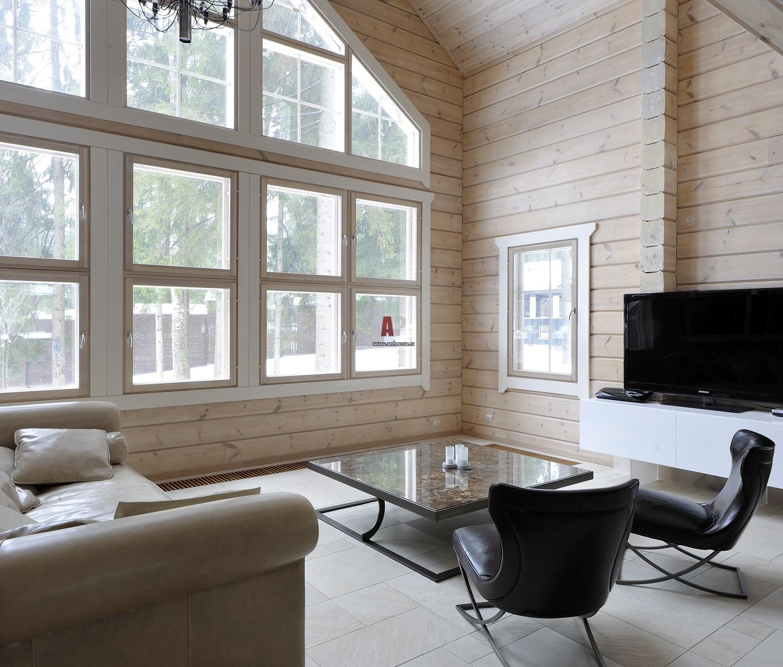 Интерьер деревянного дома из краски