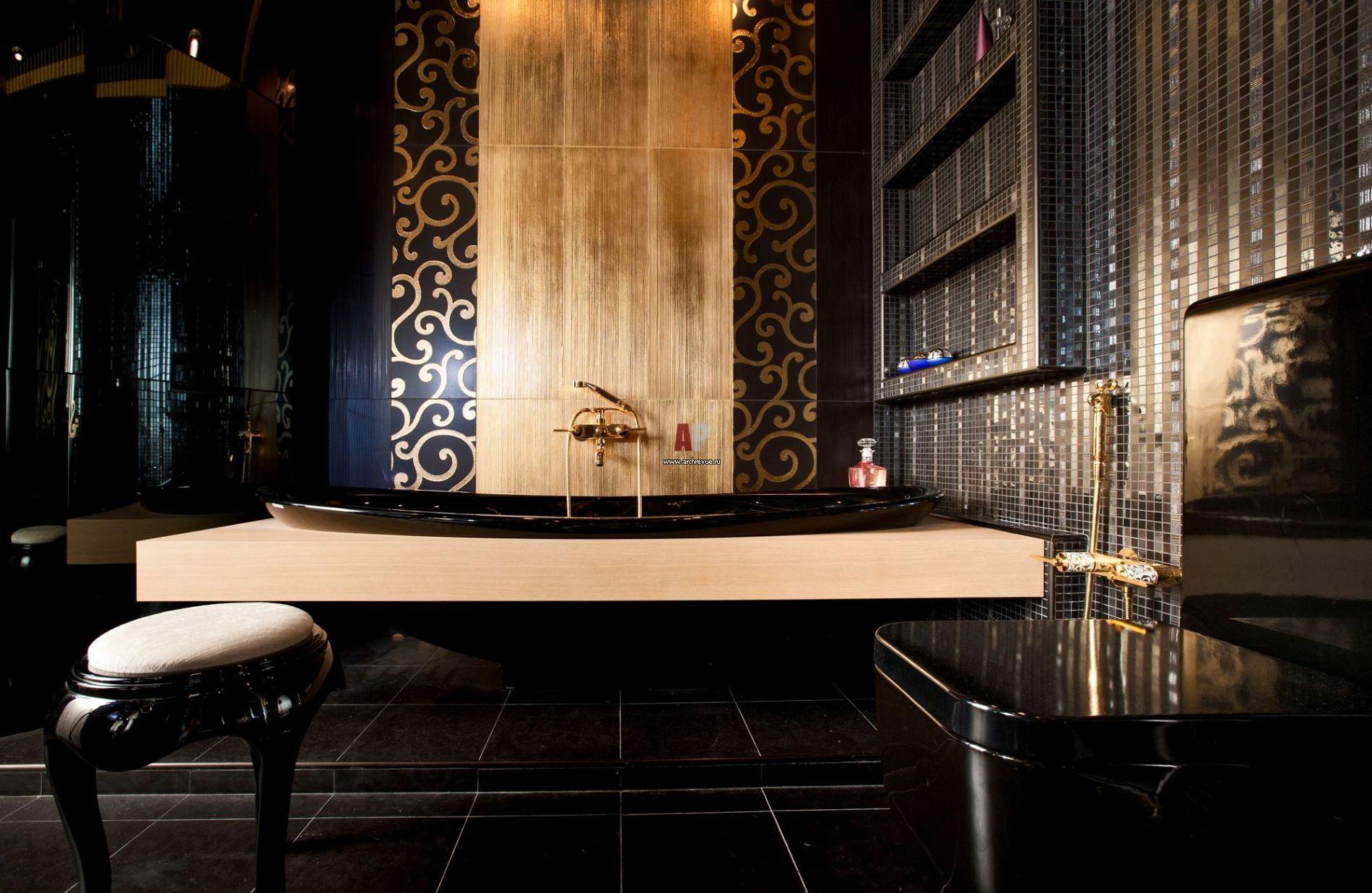 Интерьер и дизайн черной ванной: обустраиваем