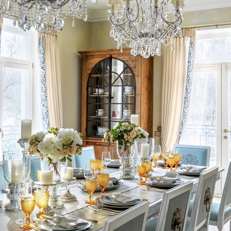 большие столовые комнаты в американских домах фото