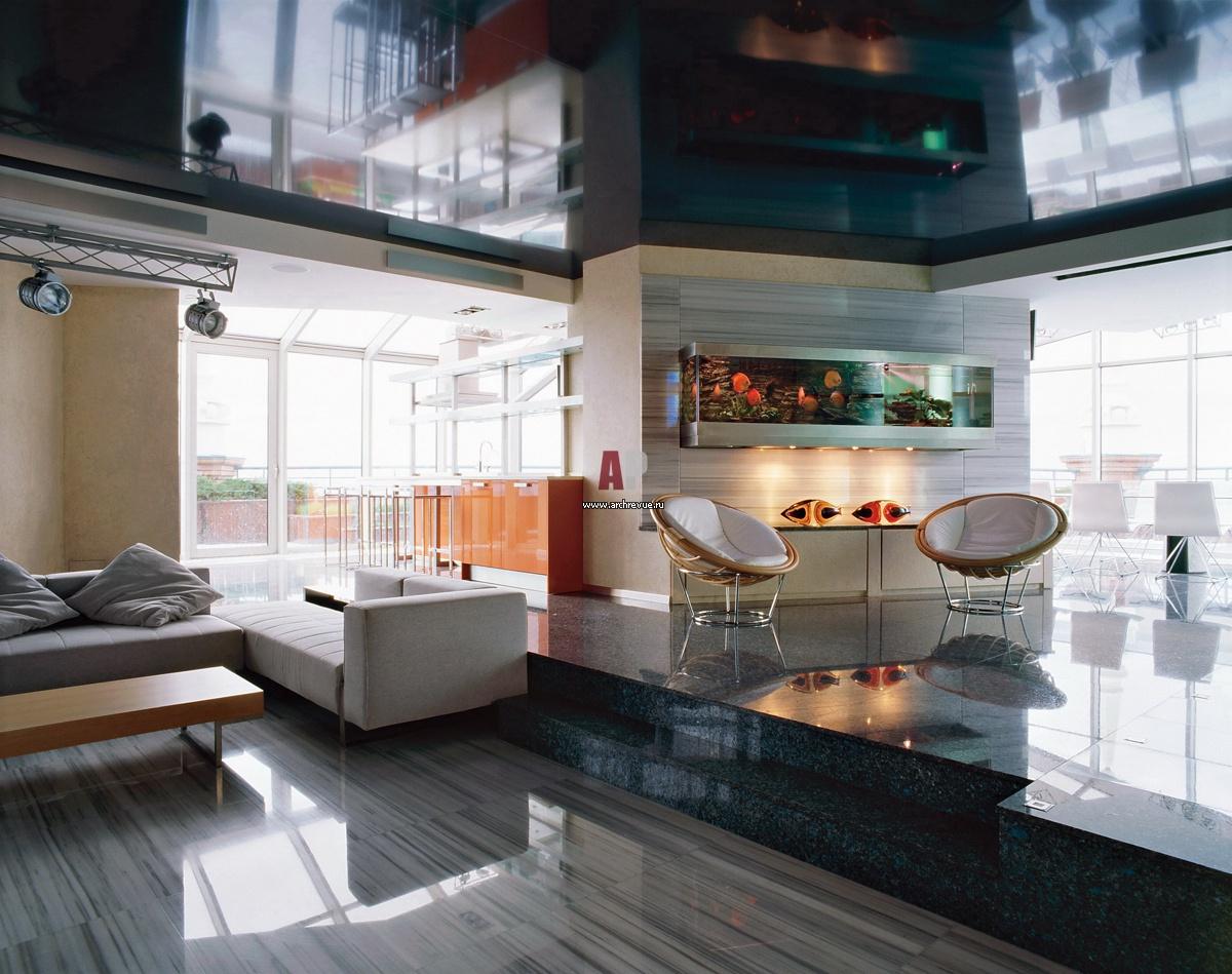 Интерьер трехуровневого пентхауса в стиле хай-тек Небольшой Дом в Стиле Хай Тек