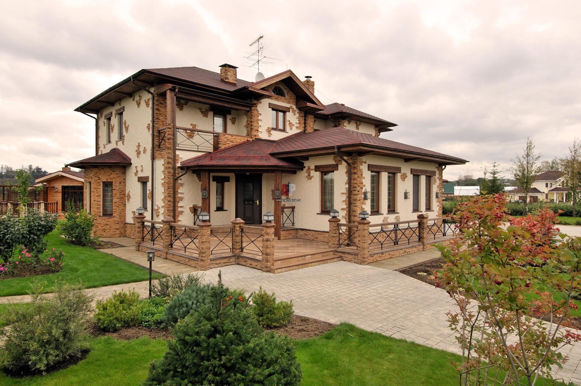 Загородный дом в стиле шале с баней и