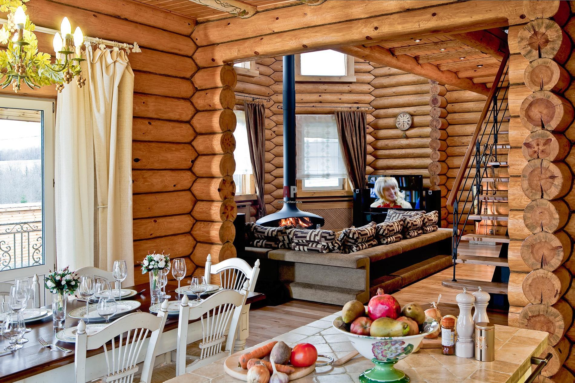Деревянного дома в стиле фьюжн фото