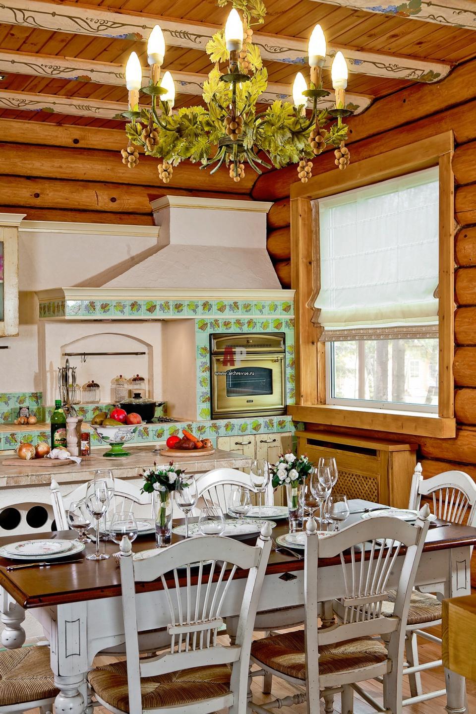 Дизайн кухни гостиной в деревянном доме