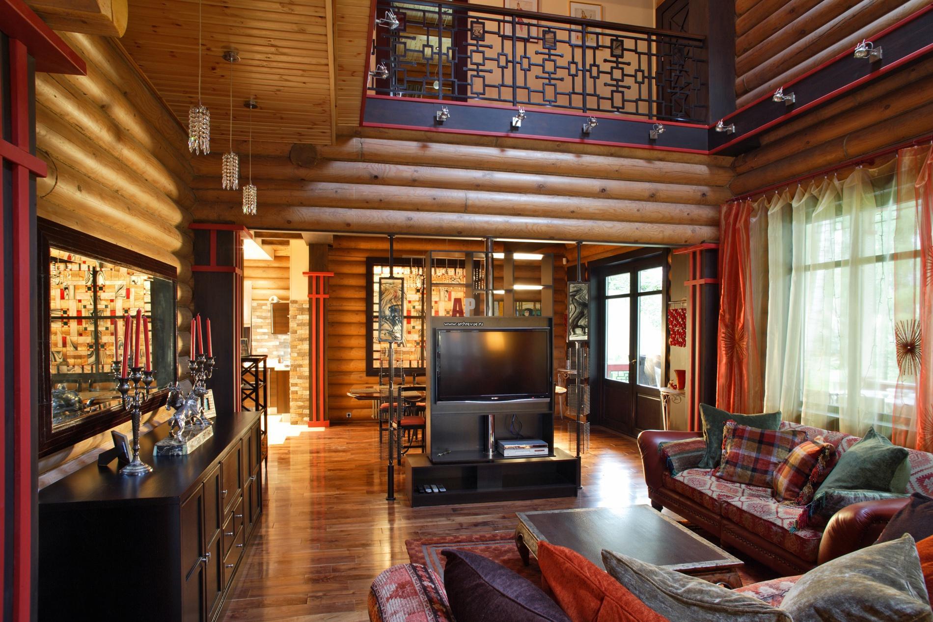 Фото интерьера деревянного дома из оцилиндрованного бревна 122