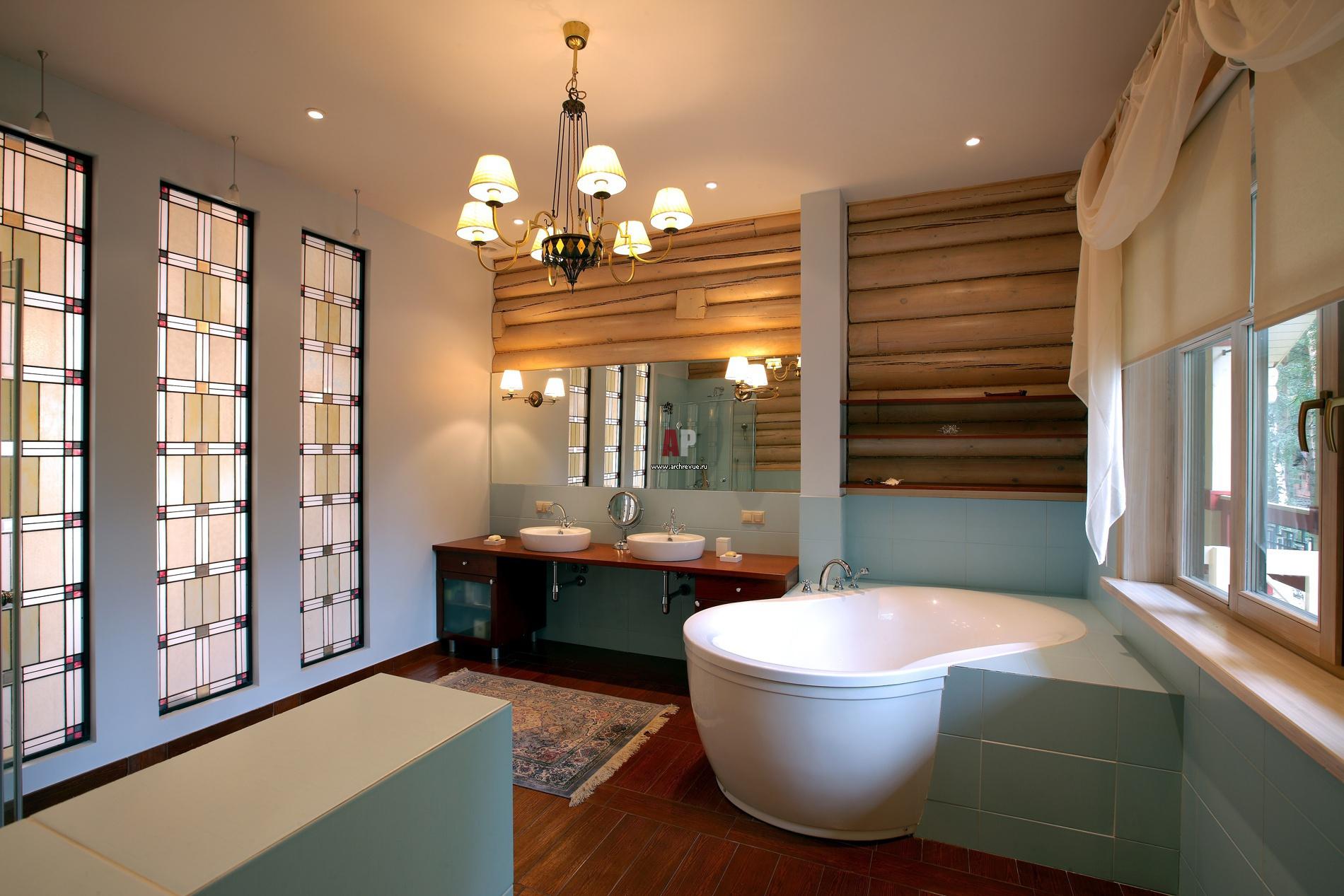 Украшение хозяйской ванной – три ряда